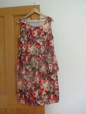 Ladies peplum flowered dress red/yellow/brown size S 10/12