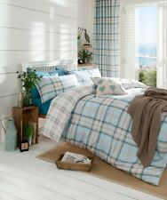 Tartan Check Duck Egg White Cotton Rich King Size Duvet Cover Bedding Quilt Set