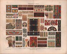 Chromo-Lithografie 1907: Ornamente I (Altertum). Kunst Malerei Ägypten Mumien