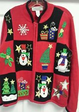 SALE Ugly Christmas Sweater Tacky Cardigan Snowman Holiday Party TIARA Large