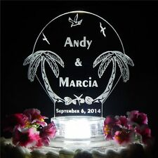 Personalized Custom Lit Beach Wedding CakeTopper Top Palm Trees Acrylic Lighted