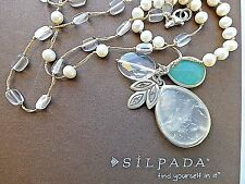 BNIB Silpada Oh so Pretty Necklace Sterling Silver Pearl Quartzite Crystal N2108