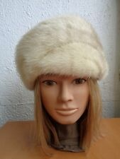 EXCELLENT CANADIAN BROWN CROSS MINK FUR HAT CAP WOMEN WOMAN SIZE ALL