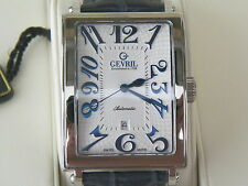 GEVRIL LE 284/500 AVE OF AMERICAS 5007A DATE AUTOMATIC WATCH BLUE LEATHER STRAP