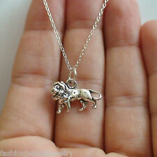 3D Lion Charm Necklace - 925 Sterling Silver - NEW Zoo Jewelry African Safari