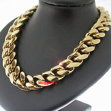 """11mm ROUNDED Curb Link Gold 107g GL 22"""" Solid MENS Necklace   LIFETIME GUARANTEE"""