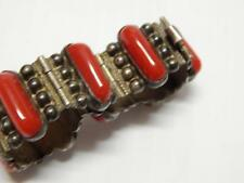 OLD MEXICAN STERLING SILVER BRACELET RED ONYX SGND PLATA ANTIQUE / VINTAGE