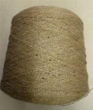 COTTON WOOL ACRYIC SILK 3500 YPP LACE WT CONE YARN 1 1/4 LBS BROWN BEIGE (C53A)