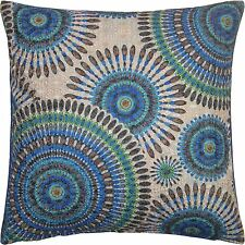 """SUPERB ROYAL PEACOCK GEOMETRIC TEAL CREAM WOVEN EMBROIDERED CUSHION COVER 18"""""""