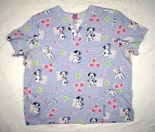 Disney 101 Dalmatians Scrub Top Womens 2XL Blue Double front pockets S/S