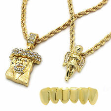 """Mens 14k Gold Plated  2 pcs Jesus & Angel 4mm 30"""" & 24"""" Rope chains Bottom Grill"""