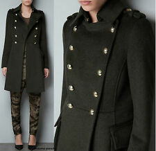 ZARA KHAKI MILITARY WOOLLEN COAT JACKET BLAZER GOLD BUTTONS EXTRA LARGE XL  NEW