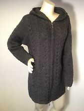 ARAN CRAFTS Ireland L long Gray duster sweater coat zip front hooded 100% wool