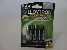 Lloytron B1004 AAA 1100 mAh ad alta potenza BATTERIE RICARICABILI 1 confezione di 4