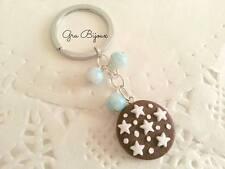 portachiavi fimo pan di stelle perline azzurre