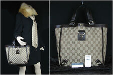 Auth GUCCI Brown GG Monogram Canvas Leather Straps D-Ring Tote Bag