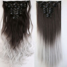 100% Real As Human Thick Hair Clip In Hair Extensions Full Head Black Brown Blue