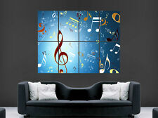 MUSIC NOTES POSTER TREBLE CLEF KEYS  WALL ART LARGE IMAGE