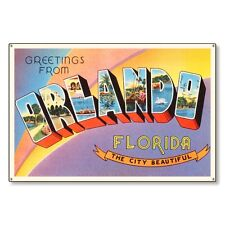 Orlando Florida fl Travel Postcard Metal Sign Wall Decor STEEL not tin 36x24