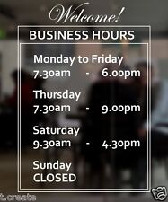 OPENING HOURS Designer Decal Shop Front Customizable Store Details, SMALL Size.
