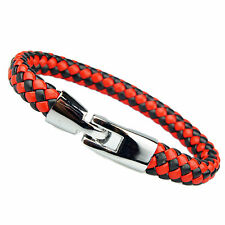 Mens Women's PU Leather Bracelet Brass Clasp Black And Red