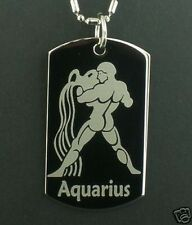 AQUARIUS zodiac horoscope star Dog Tag Pendant Necklace