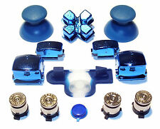 PS3 Controller Full Chrome Blue Mod Kit With Silver Bullet Buttons + Home