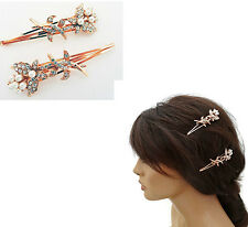 2 x Rose Gold Tone Hair Slides Grips with Pearls and Diamante Butterfly 8 cms