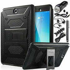 "For Samsung Galaxy Tab A 9.7"" Car Charger + Hybrid Rugged Shockproof Case Cover"