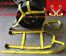 2 Basket Straps & 2 Ratchets Kit Adjustable Tow Dolly DEMCO Wheel Net Flat Hook