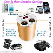 Golden Cup Shape Car Autos Dual USB Cigarette Lighter Cellphone Charger Adapter