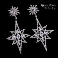 18K White Gold Filled AAA Grade CZ Luxury Snowflake Star Chandelier Earrings