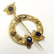 Antique 18k Gold Shawl Pin Brooch Sapphire Seed Pearl Celtic Filigree Penannular
