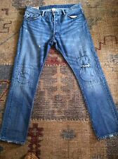 RALPH LAUREN PATCHWORK DENIM JEANS DISTRESSED PATCHED 36 X 32 POLO