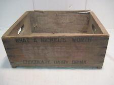 OLD VINTAGE WOOD-WOODEN NICKELS CHOCOLATE MILK DAIRY BEVERAGE CRATE BOX