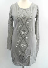 Micro Mini Dress /  Long Lace Sleeve Party Top Grey L / XL box7372 A