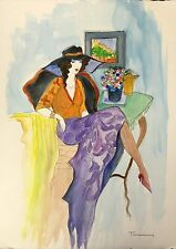 "Itzchak Tarkay (1935 –2012) Israeli ARTIST lithograph prints 8x10""  purple dress"