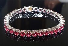 X'mas GIFT 14k White Gold Over Ruby Tennis Bracelet in 8.25ct with Size 7.25""