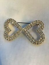 "Diamanté Heart Brooch. Kissing Hearts With Safety Back Fastening Nr 2"" X 1"""