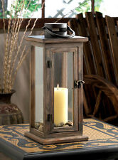 "large 16"" tall brown wood metal Candle holder Lantern Lamp terrace outdoor patio"