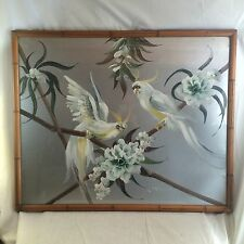 c1950's Lg. signed Luis Painting Cockatoos on Silver Backed Faux Bamboo Frame