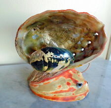 Vintage 1930's Sea Shell Lamp Pearl Abalone Opalescent Desk Accent Light