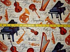 Piano Harp French Horn Sax Violin Notes Base Opus Music C4828 TT Cotton fabric