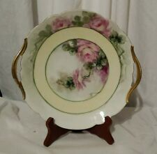 Vintage T&V Limoges Open Handle Cake Plate Hand Painted Pink Roses Artist Signed