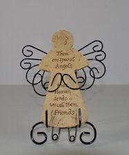 SPECIAL SCULPTURED RESIN FRIEND ANGEL FIGURE W/METAL WINGS & MATCHING METAL STAN