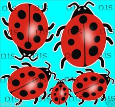 x5 Ladybird stickers Scooter Decals Bumper Vespa car vw van dub jdm ladybug