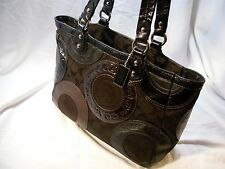 COACH Snaphead Pieced Patchwork Brown and Black Purse Handbag Tote