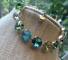 Swarovski Crystal Elements Shades Of Green Blues Bracelet 12mm Silver Cup Chain