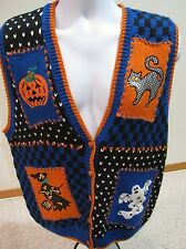 Ugly Halloween Sweater Vest Women's M Black KNIT Cardigan BellePointe Party