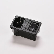 Panel Mount Rocker Switch IEC320 C14 3 Pin Plug Power Socket AC250V 10A EW